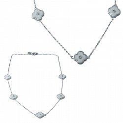 Серебряное колье с белой керамикой и фианитами 000077090