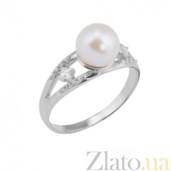 Кольцо из белого золота с жемчугом и фианитами Дорайн 000023177