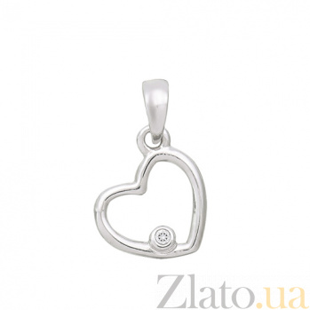 Золотая подвеска из белого золота Сердце SVA--3101313102/Фианит/Цирконий