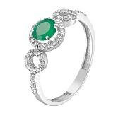 Серебряное кольцо Гарриэт с наноизумрудом и фианитами