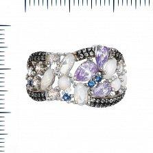 Серебряное кольцо Вирджиния с фиолетовыми, голубыми и белыми фианитами