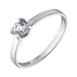 Золотое кольцо в белом цвете с кристаллом Swarovski 000069530