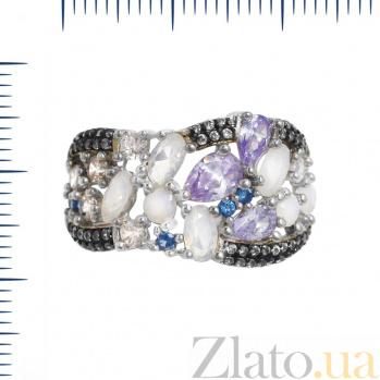 Серебряное кольцо Вирджиния с фиолетовыми, голубыми и белыми фианитами 000082026