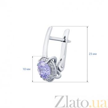 Серебряные серьги с лиловым цирконом Анетта 000014474