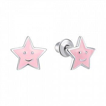 Серебряные серьги с эмалью 000150382