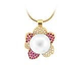Золотое колье с жемчугом, рубинами и бриллиантами Впечатления ночи