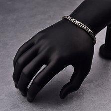 Серебряный чернёный браслет Терис в плетении питон, 7 мм