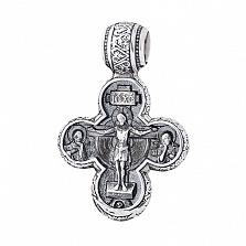 Серебряный крестик Сонм ангелов с чернением