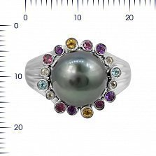 Кольцо из белого золота Малефисента с черным жемчугом, аметистом, топазом, турмалином и цитрином