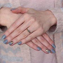 Золотое кольцо Зита с изумрудом и бриллиантами