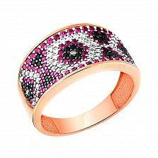 Кольцо Вышиванка из красного золота с широкой шинкой и разноцветными фианитами