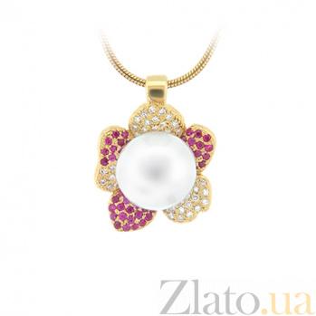 Золотое колье с жемчугом, рубинами и бриллиантами Впечатления ночи 000029512