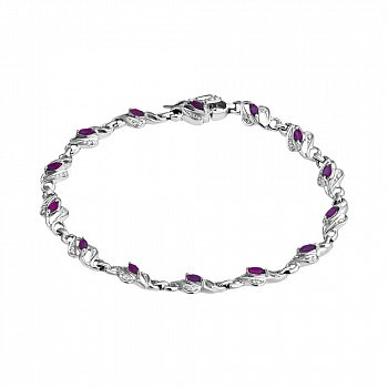 Серебряный браслет с рубинами и бриллиантами 000050714