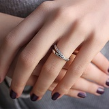 Серебряное двойное кольцо с фианитами Изящность