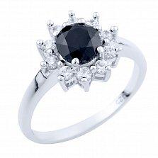 Серебряное кольцо Холли с сапфиром и фианитами