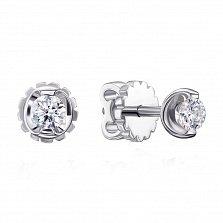 Серьги-пуссеты из белого золота с бриллиантами 000132188