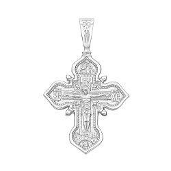 Православный серебряный крестик с молитвой 000134531