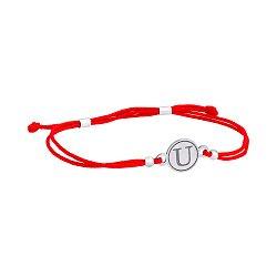 Шелковый браслет с серебряной вставкой Буква U