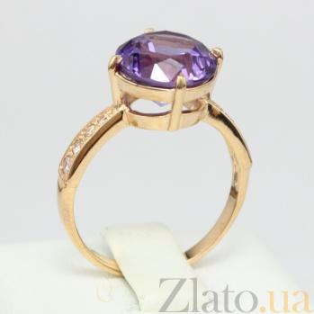 Золотое кольцо с аметистом и фианитами Эстель VLN--112-1306-4