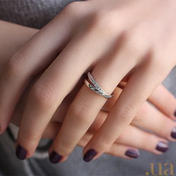 Серебряное двойное кольцо с фианитами Изящность 000032456