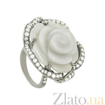 Серебряное кольцо с агатом и фианитами Винтажная роза 3К107-0054