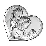 Католическая икона Святое Семейство в форме сердца, 15,5х14см