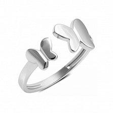 Серебряное кольцо Два мотылька с разомкнутой шинкой и родием