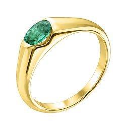 Золотое кольцо Зафира из желтого золота с изумрудом