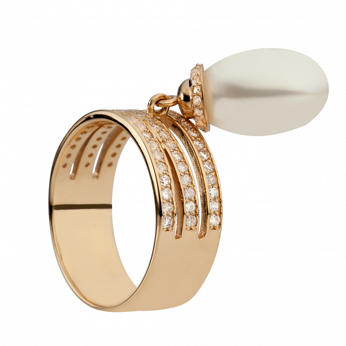 Золотое кольцо с жемчугом Эбигейл 000029920