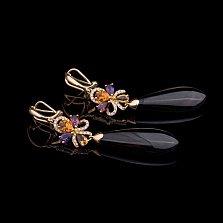 Золотые серьги-подвески Роскошь с агатом, аметистами, цитринами, турмалинами, кварцем и бриллиантами