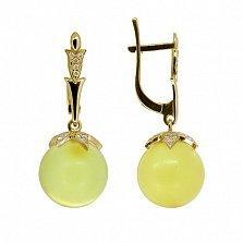 Золотые серьги-подвески Лорентина с янтарем и бриллиантами