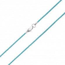 Голубой шелковый шнурок Бриз с серебряным замком,1мм