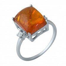 Серебряное кольцо Филлида с янтарем и фианитами