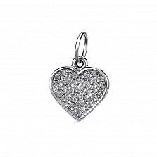 Серебряный кулон-шарм Сердце с усыпкой фианитов