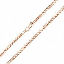 Золотая цепочка Ремина в красном цвете в плетении ромб, 2,5мм