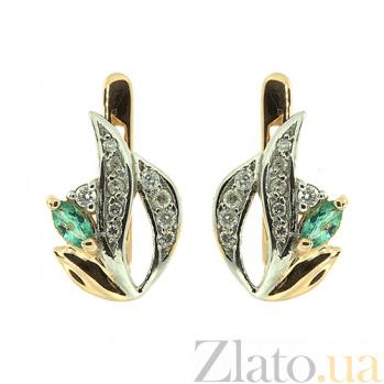 Золотые серьги с бриллиантами и изумрудами Цветана ZMX--EE-6717_K