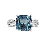 Золотое кольцо Голубой залив с топазом и бриллиантами