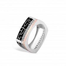 Серебряное кольцо Эльнара с золотой накладкой, фианитами и черной эмалью