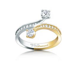 Кольцо из комбинированного золота с аквамаринами и бриллиантами Два ангела