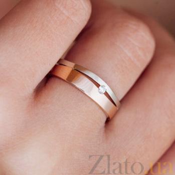 Золотое обручально кольцо Лейден с бриллиантом (женское)  PRT--WR001