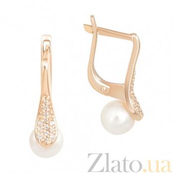 Золотые серьги Баронесса с жемчугом и фианитами SVA--2190654101/Жемчуг