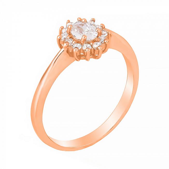 Серебряное кольцо с позолотой и фианитами Джаухар 000028413