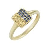 Золотое кольцо с сапфирами Флаг Украины
