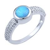 Кольцо из серебра Варда с голубым опалом и фианитами