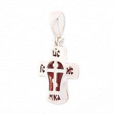 Серебряный крестик Спаси и сохрани с красной эмалью