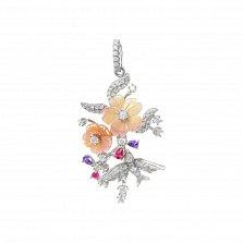 Серебряный кулон Весенние цветы с белыми, розовыми и фиолетовыми фианитами и розовым перламутром