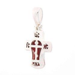 Серебряный крестик Спаси и Сохрани с красной эмалью 000100649