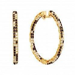 Золотые серьги-кольца в желтом цвете с черными и белыми фианитами, d 34мм 000122471