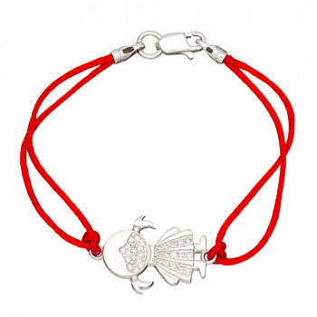 Шелковый браслет Девочка с серебряной вставкой и фианитами 000051589