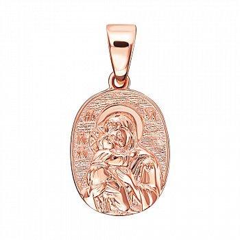 Ладанка из красного золота Божия Матерь Владимирская 000138561
